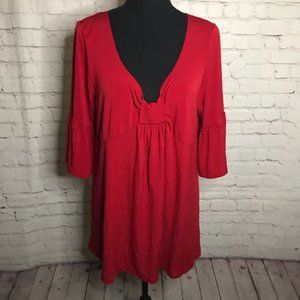 Fun Fash womens red popover top blouse bell sleeve